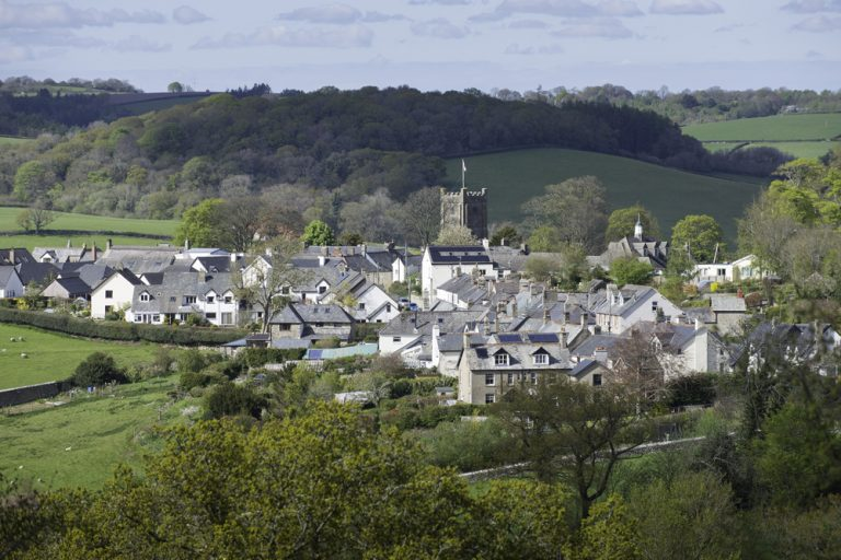 view over town of Chagford, Devon