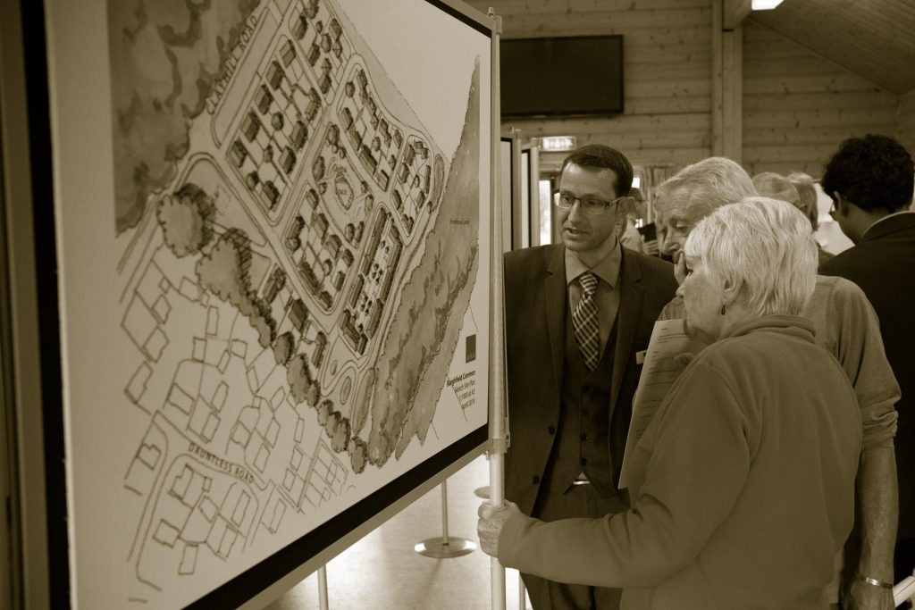 Attendees at a Public consultation for the Englefield Estate at Burghfield looking at place for new homes