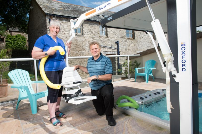 Simon and Kate Brookes by their disabled friendly swimming pool