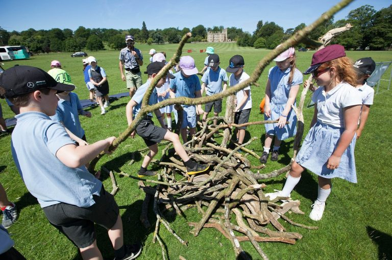 A group of school children taking part in Schools Day at Englefield Estate