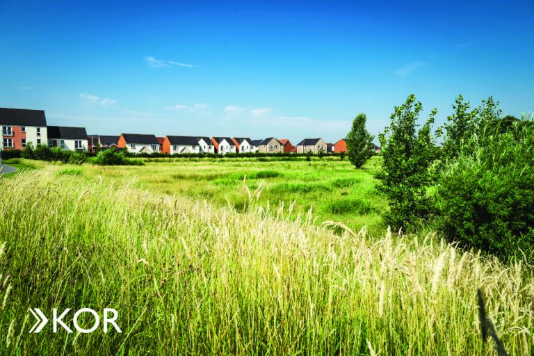 Landscape shot of the open green space at Cranbrook with new homes in the background