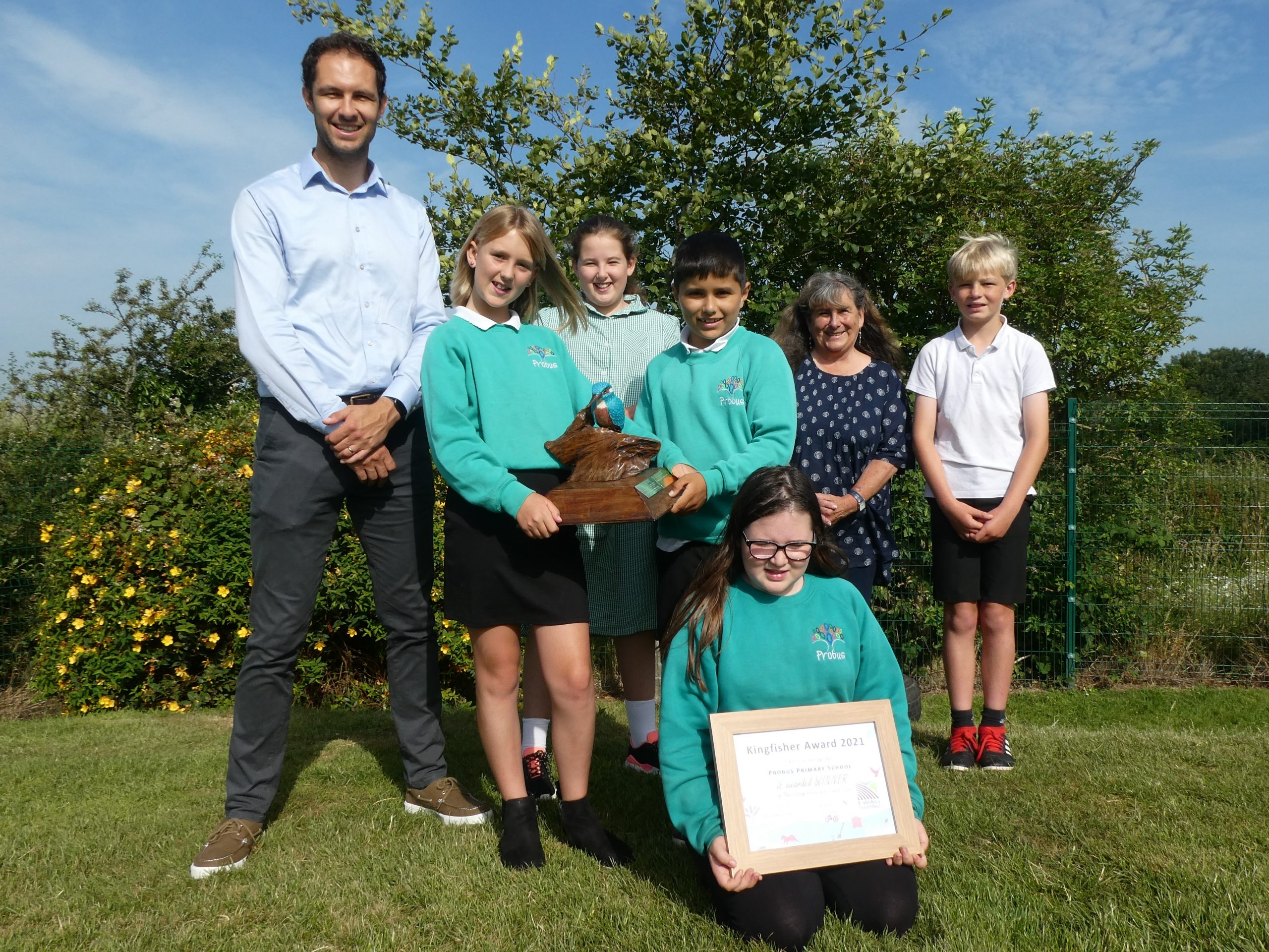 Teacher and school children from Probus Primary School with their Kingfisher Award