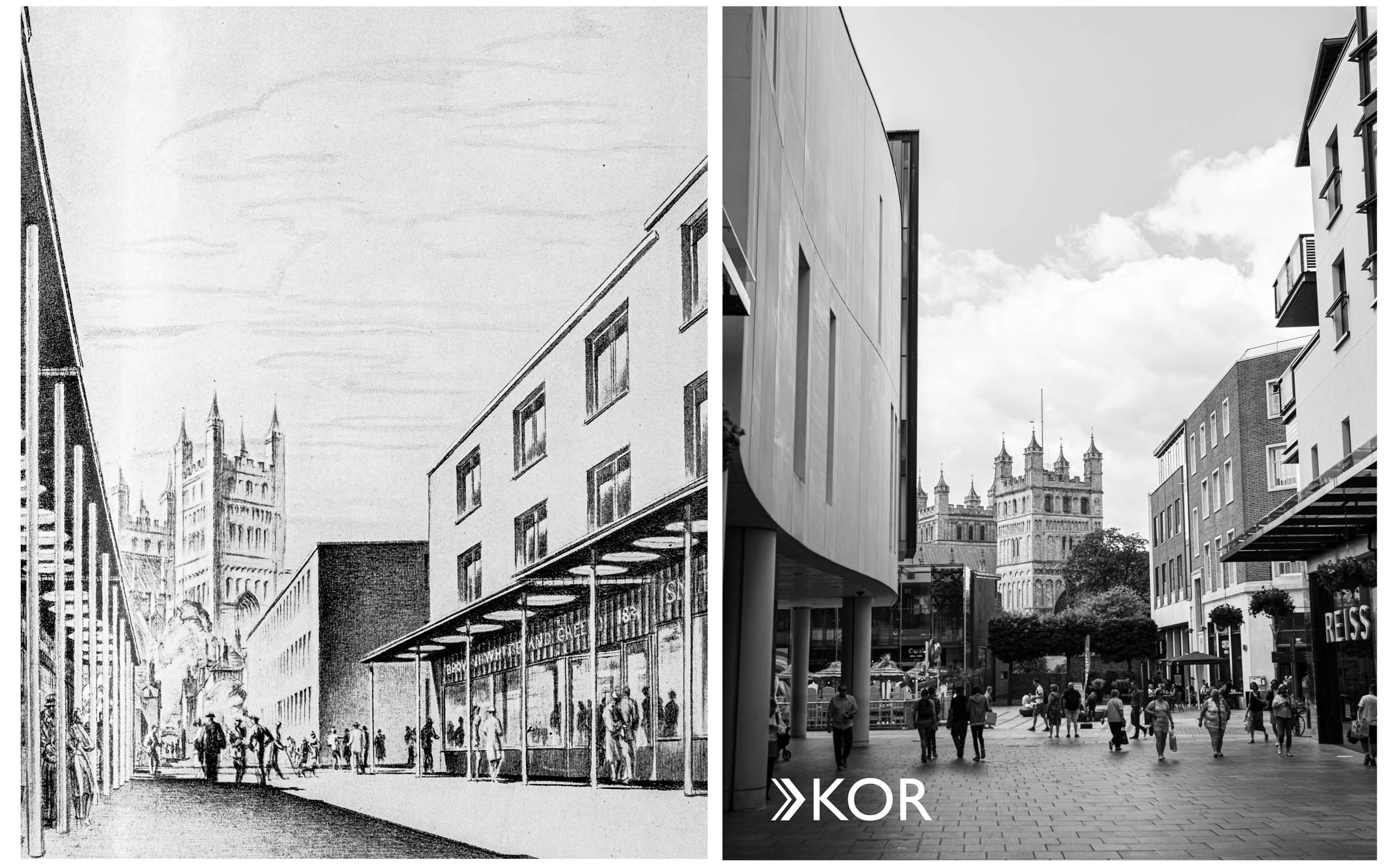 A drawing of Thomas Sharp's vision for a shopping street, and photograph of modern day Princesshay Shopping Centre.