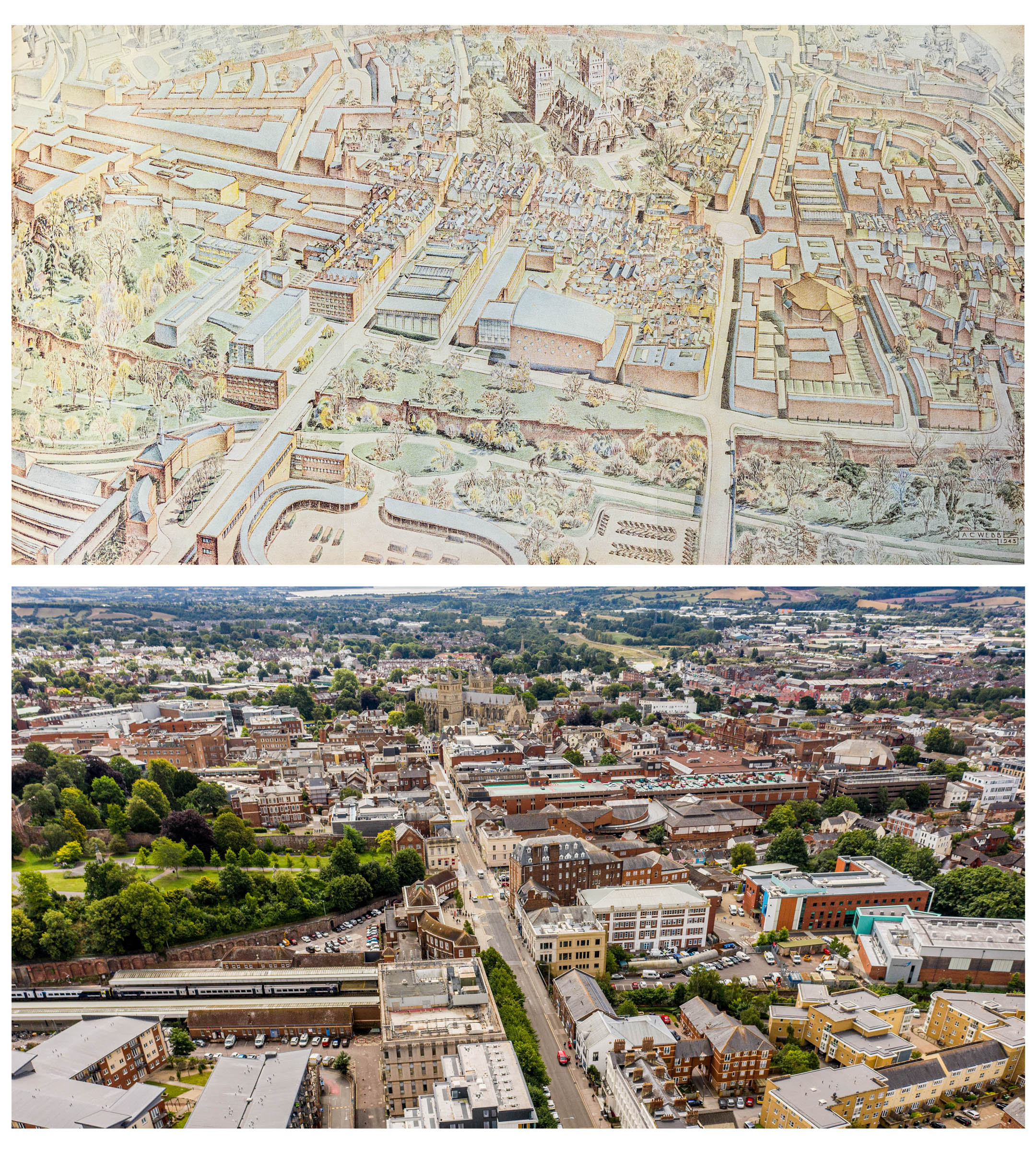 Thomas Sharp's drawing of what Exeter could have looked like, and an aerial photo of Exeter from Queen Street, Exeter.